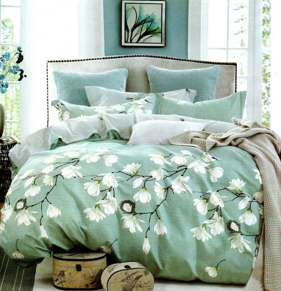 Lenjerie de pat verzuie cu flori albe