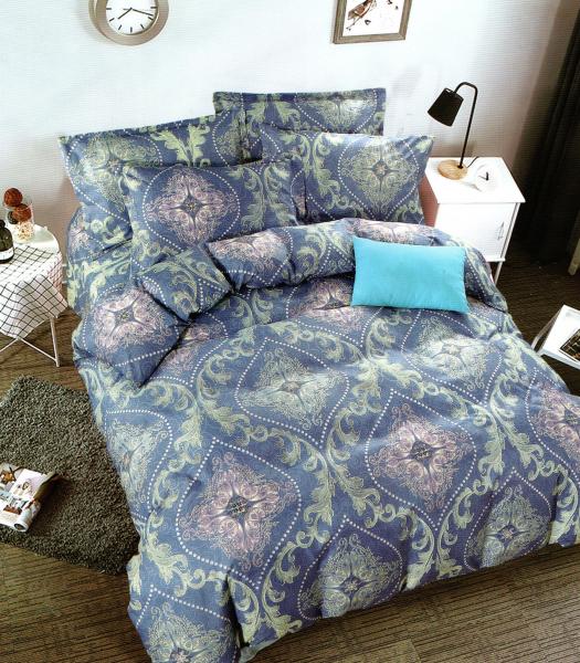 Lenjerie de pat albastra cu model in romburi