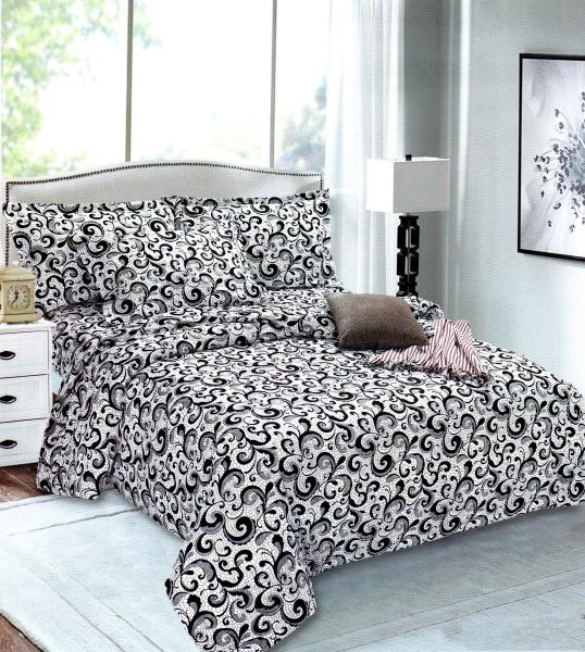 Lenjerie de pat alba cu model