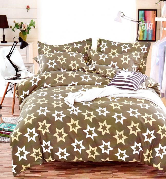 Lenjerie de pat din bumbac satinat  maroniu cu stele albe 0