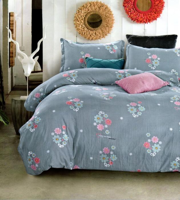 Lenjerie de pat albastra cu imprimeu inflorat