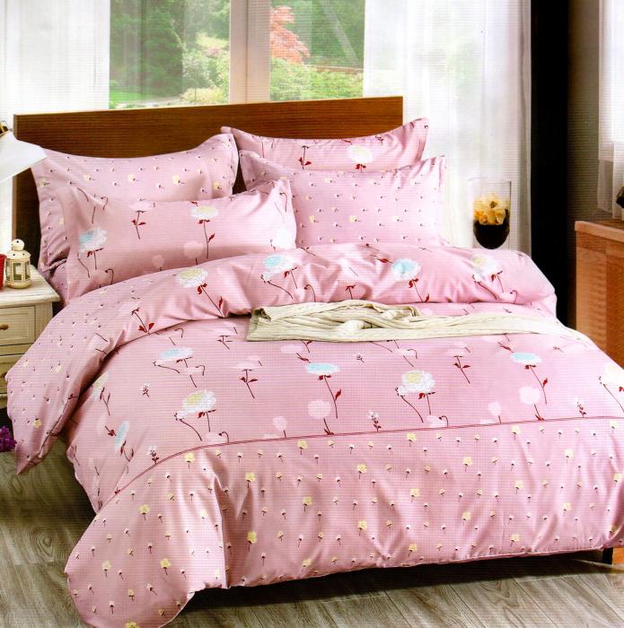 Lenjerie de pat din Bumbac Satinat roz cu flori