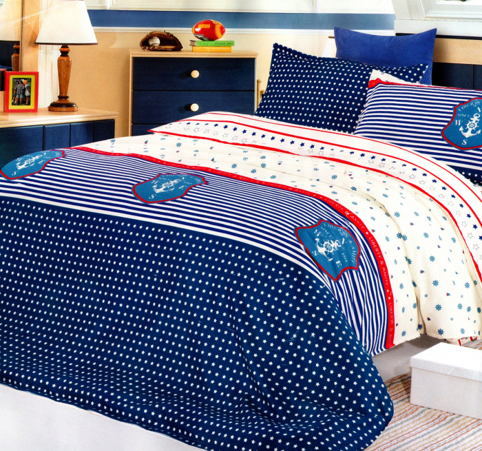 Lenjerie de pat din Bumbac Satinat / 2 persoane / 4 piese - F12B-03 0