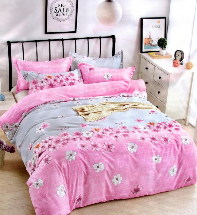 Lenjerie de pat din Bumbac Satinat roz aprins cu multe floricele multicolore 0