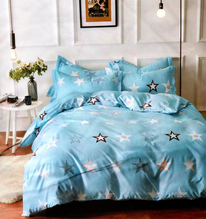 Lenjerie de pat din Bumbac Satinat bleu cu stele 0