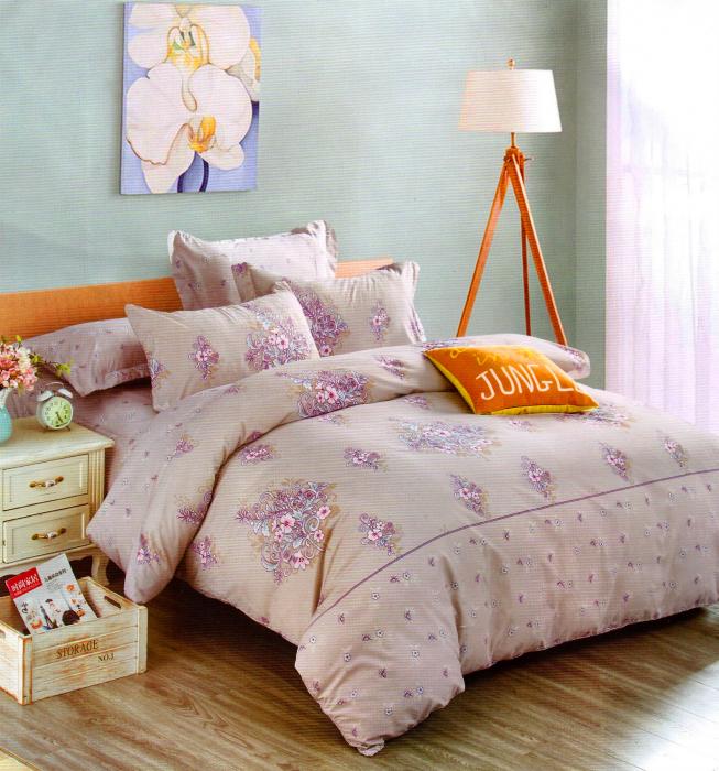 Lenjerie de pat din Bumbac Satinat de culoare mov deschis cu model 0
