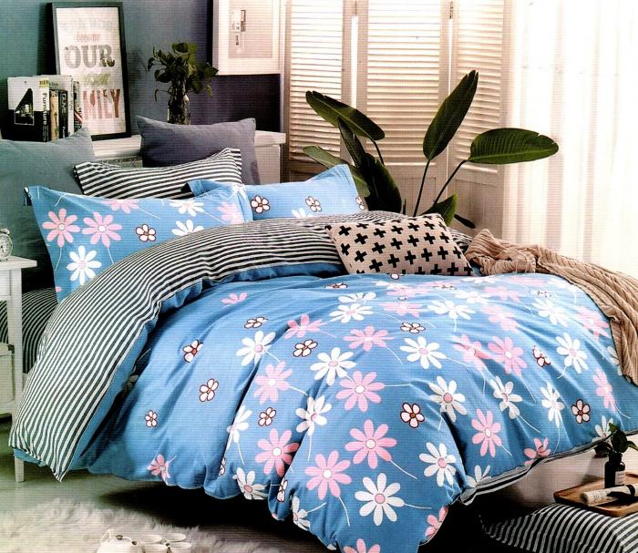 Lenjerie de pat din Bumbac Satinat albastra cu flori colorate