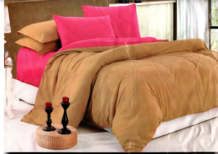 Lenjerie de pat din Bumbac Satinat maro cu roz 0
