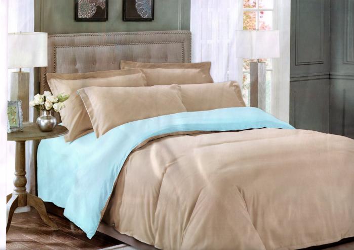 Lenjerie de pat din Bumbac Satinat maroniu cu bleu