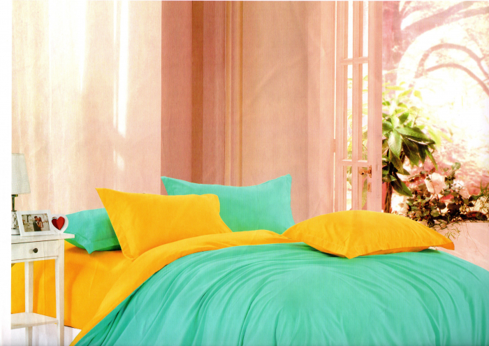 Lenjerie de pat turcoaz cu galben 0
