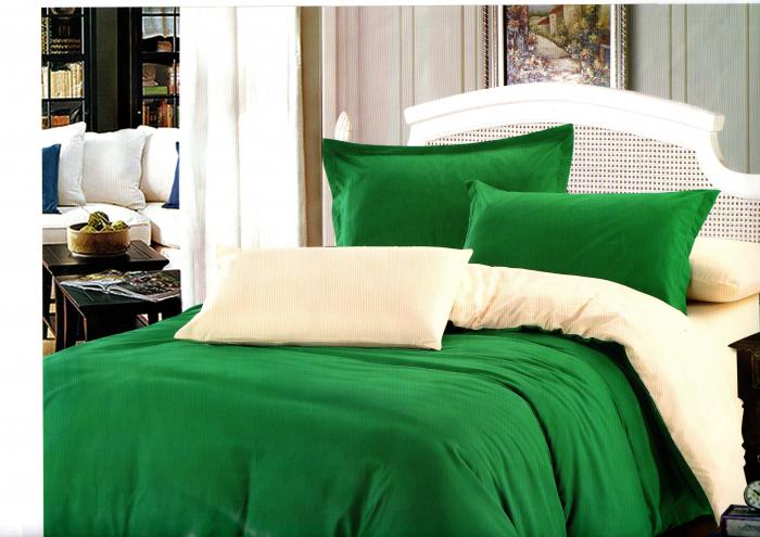 Lenjerie de pat din Bumbac Satinat de culoare verde cu galben 0