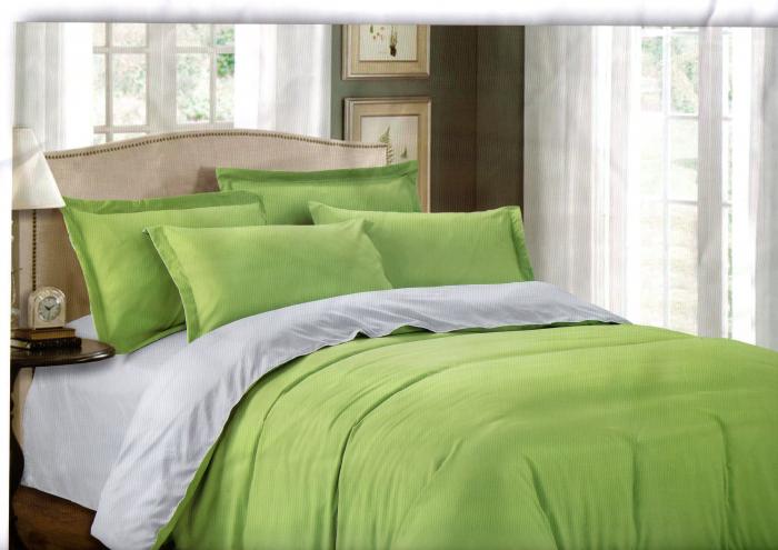 Lenjerie de pat din Bumbac Satinat verde deschis cu gri 0