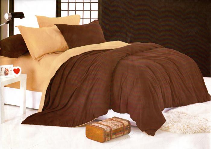 Lenjerie de pat cu 2 fete din Bumbac Satinat culoare maro inchis cu maro deschis