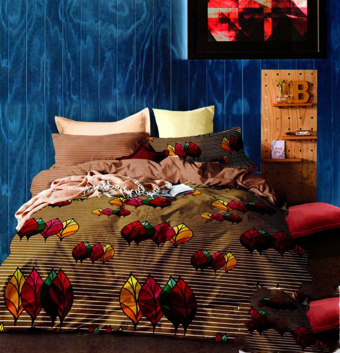 Lenjerie de pat din Bumbac maro cu tenta tomnatica