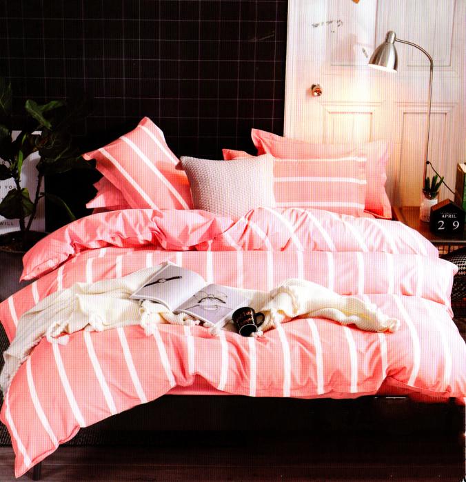 Lenjerie de pat din Bumbac roz cu dungi 0
