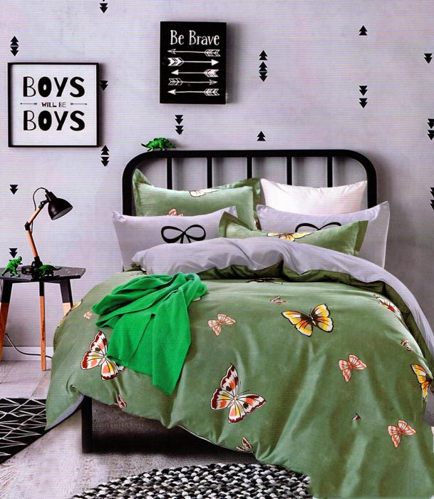 Lenjerie de pat din Bumbac cerde si cu fluturi