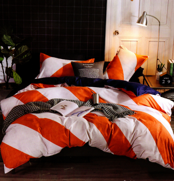 Lenjerie de pat din Bumbac cu dungi portocalii 0