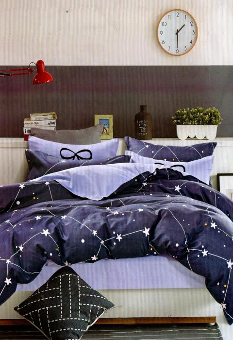 Lenjerie de pat din Bumbac albastra cu constelatii