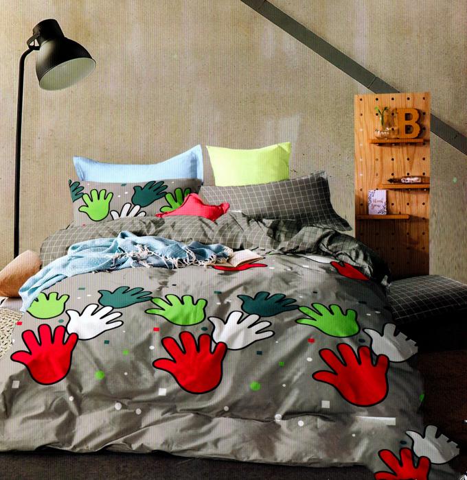 Lenjerie de pat model cu palme colorate
