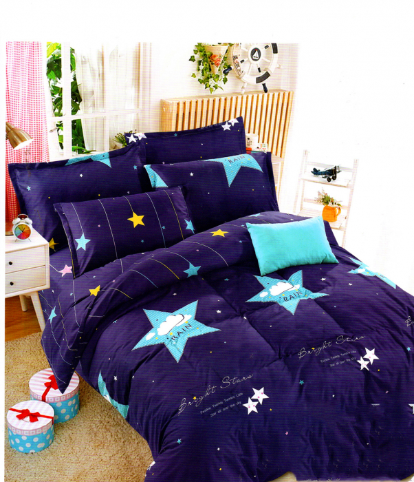 Lenjerie de pat din Bumbac albastra cu stele 0