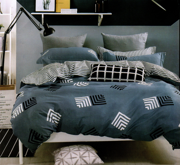 Lenjerie de pat din Bumbac Finet gros albastru spre gri 0