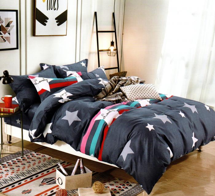 Lenjerie de pat din Bumbac Finet gros albastra cu stele si dungi groase colorate 0