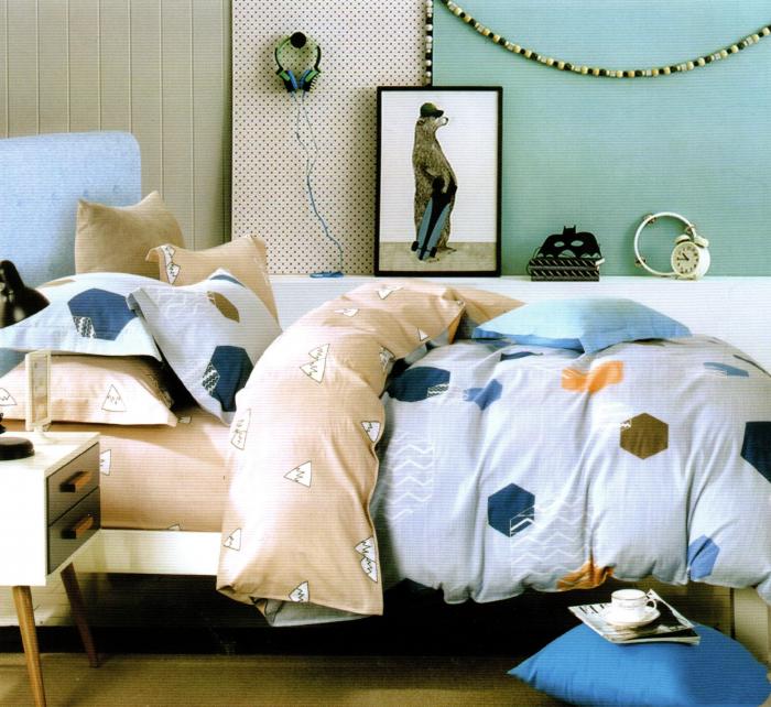 Lenjerie de pat din Bumbac Finet gros bleu cu hexagoane colorate 0