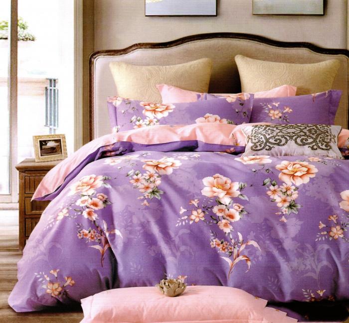 Lenjerie de pat din Bumbac Finet gros mov cu flori 0