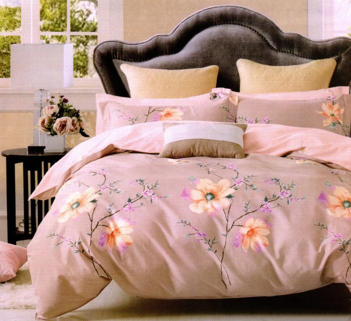 Lenjerie de pat din Finet gros cu flori roz 0