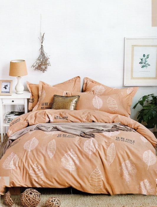 Lenjerie de pat din Bumbac Finet gros cu frunze mari albe 0