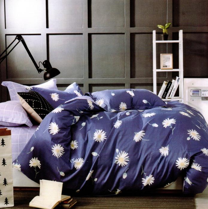 Lenjerie de pat din Bumbac Finet gros albastra cu flori albe - F33-05 0