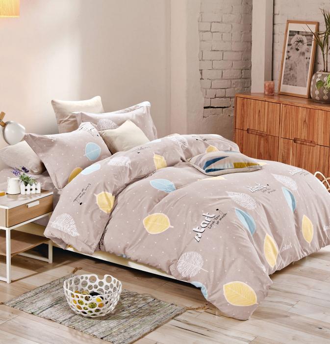 Lenjerie de pat multicolora cu frunze F12A-07 0
