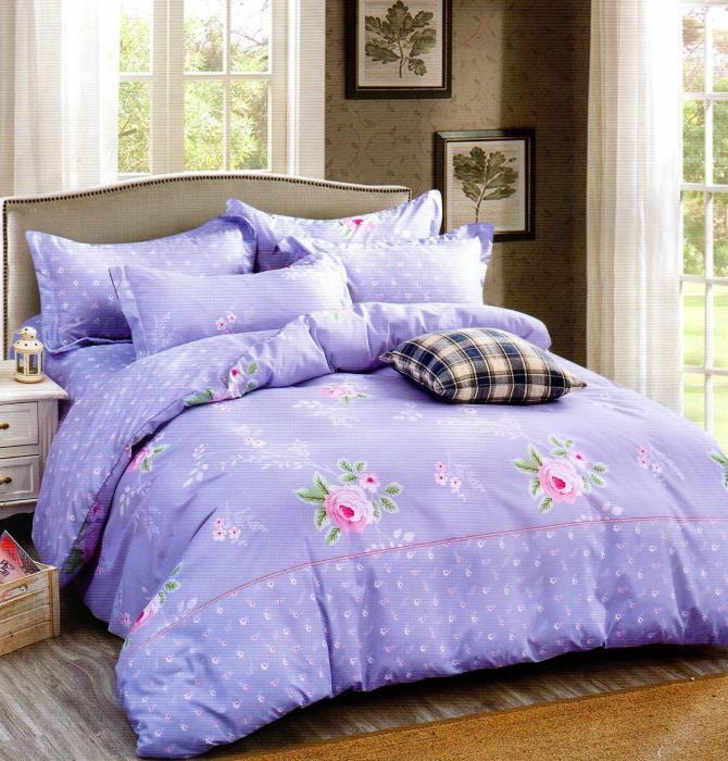 Lenjerie de pat din Bumbac Satinat culoare albastru spre mov cu floricele