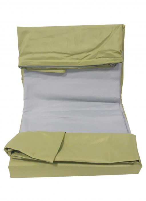 Lenjerie de pat din Bumbac Satinat verde deschis cu gri 2