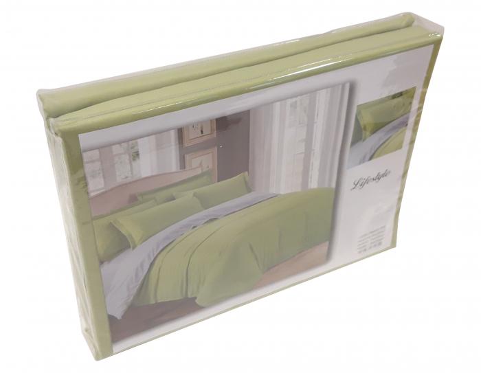 Lenjerie de pat din Bumbac Satinat verde deschis cu gri 1