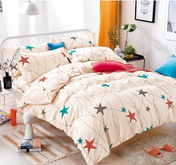Lenjerie de pat din Finet satinat - STARS - F19-59 0