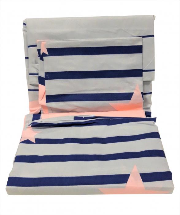 Lenjerie de pat gri cu albastru si roz cu stelute