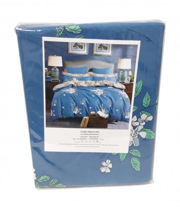 Lenjerie de pat albastra si cu imprimeu