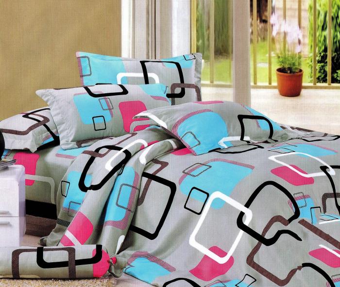 Lenjerie de pat multicolora cu model modern cu patrate