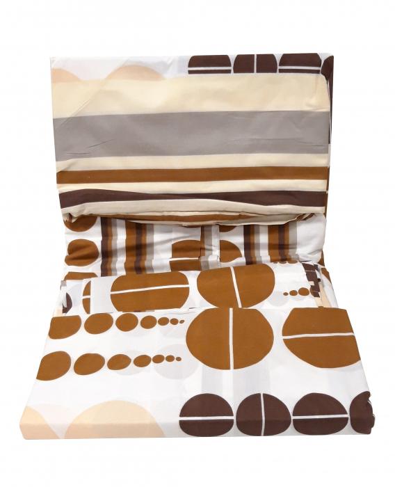 Lenjerie de pat alb cu maro si cu cercuri mari si mici