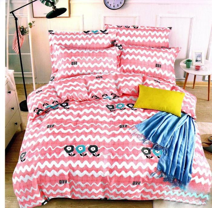 Lenjerie de pat roz cu dungi albe ondulate