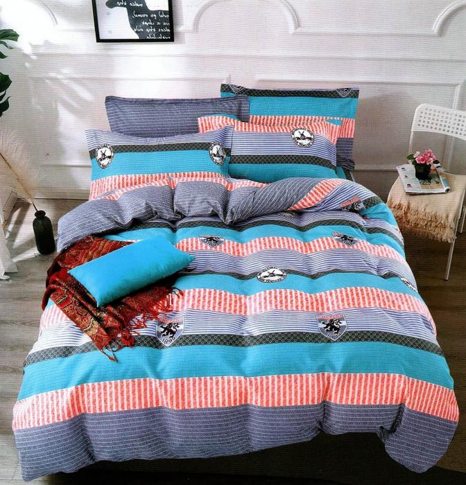 Lenjerie de pat albastru cu rosu si gri