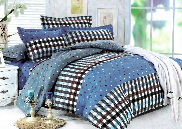 Lenjerie de pat albastra cu stelute mici si carouri