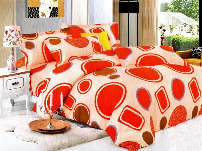 Lenjerie de pat cu cercuri mari rosii