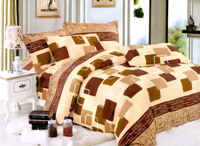 Lenjerie de pat cu patrate maro