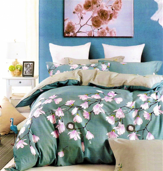 Lenjerie de pat bleu cu flori albe