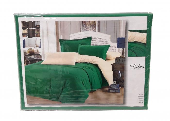 Lenjerie de pat din Bumbac Satinat de culoare verde cu galben 1