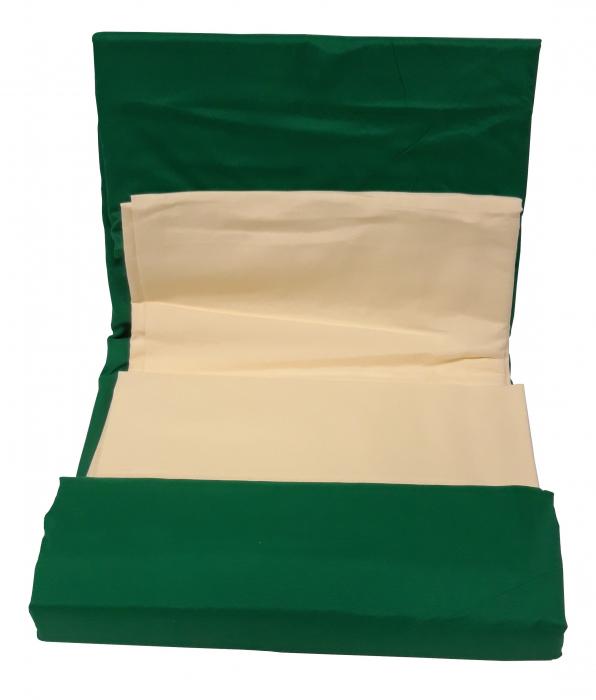 Lenjerie de pat din Bumbac Satinat de culoare verde cu galben 2