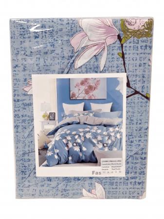 Lenjerie de pat din Microfibra bleu cu flori F04-51