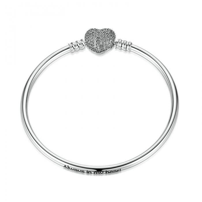 Bratara argint 925 cu inimioara Allways in my heart si zirconii albe - Be Elegant BST0015 0